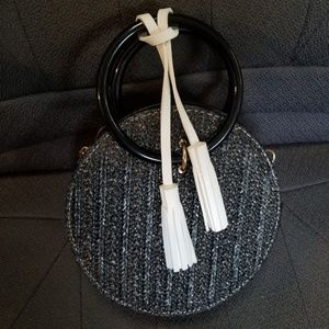 Handbags - Round, black, wicker , crossbody bag,  clutch
